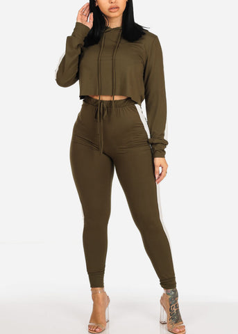 Image of Olive Crop Top & Jogger Pants (2PC SET)
