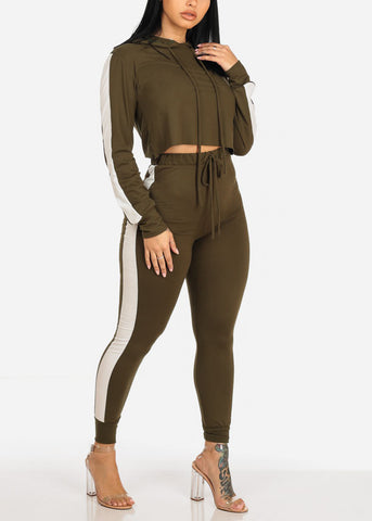 Olive Crop Top & Jogger Pants (2PC SET)