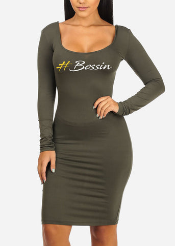 Image of Bossin Graphic Olive Bodycon Dress