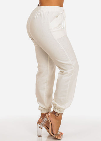 Image of High Rise Ivory Linen Skinny Pants