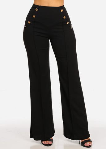 Evening Wear High Rise Black Pants