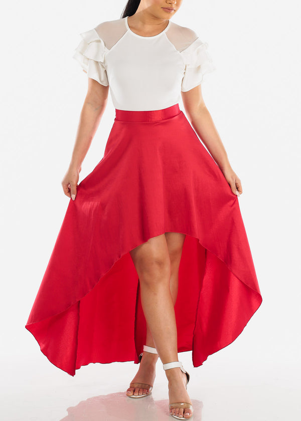 Sexy High Low Red Skirt