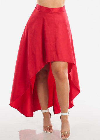 Image of Sexy High Low Red Skirt