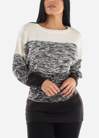 Image of Knitted Color Block Dolman Sweatshirt