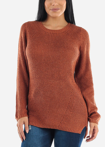 Sexy Brown Cozy Warm Slip On Sweater