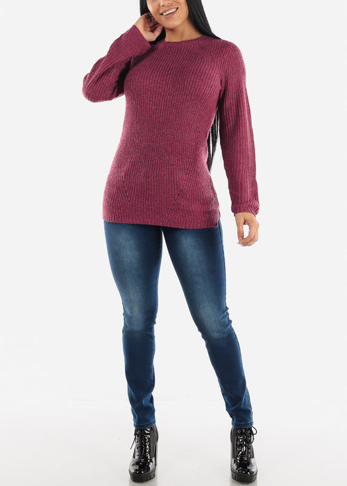 Purple Casual Knit Long Sleeve Sweater