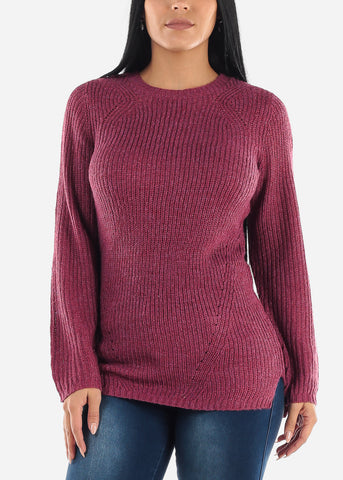 Image of Purple Casual Knit Long Sleeve Sweater
