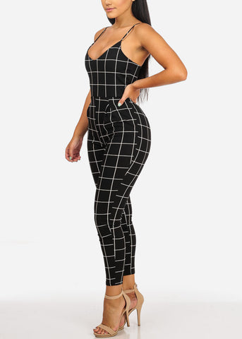 Sexy Black Plaid Print Jumpsuit