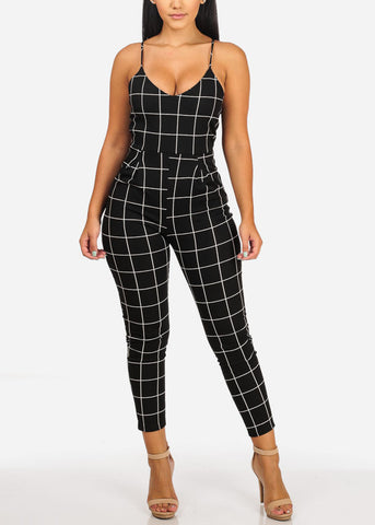 Image of Sexy Black Plaid Print Jumpsuit