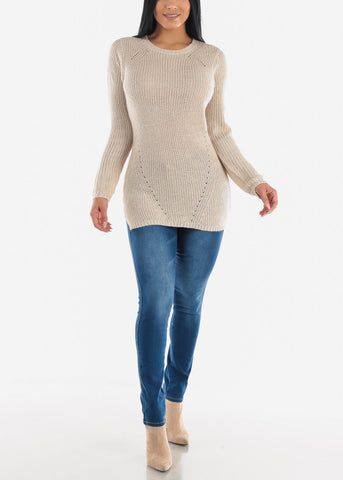 Beige Casual Knit Long Sleeve Sweater