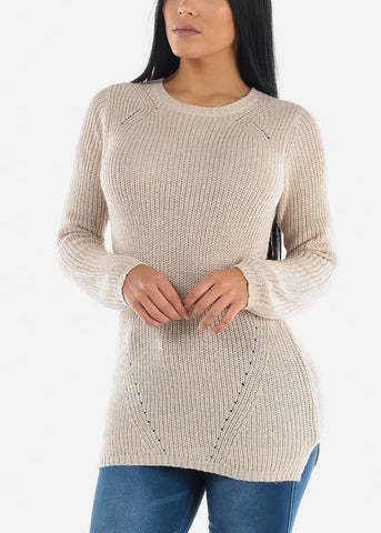 Image of Beige Casual Knit Long Sleeve Sweater