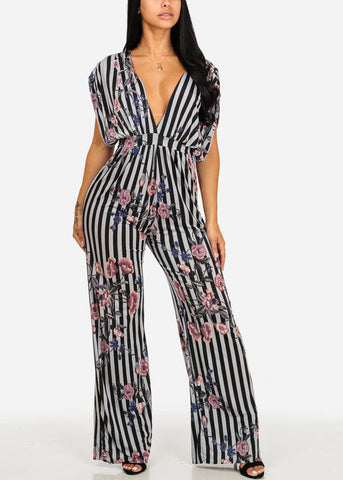 Image of Sexy Floral & Stripe Printed Jumpsuit