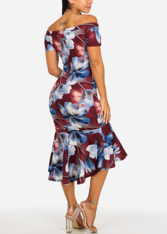 Off-Shoulder Blue Floral Midi Dress
