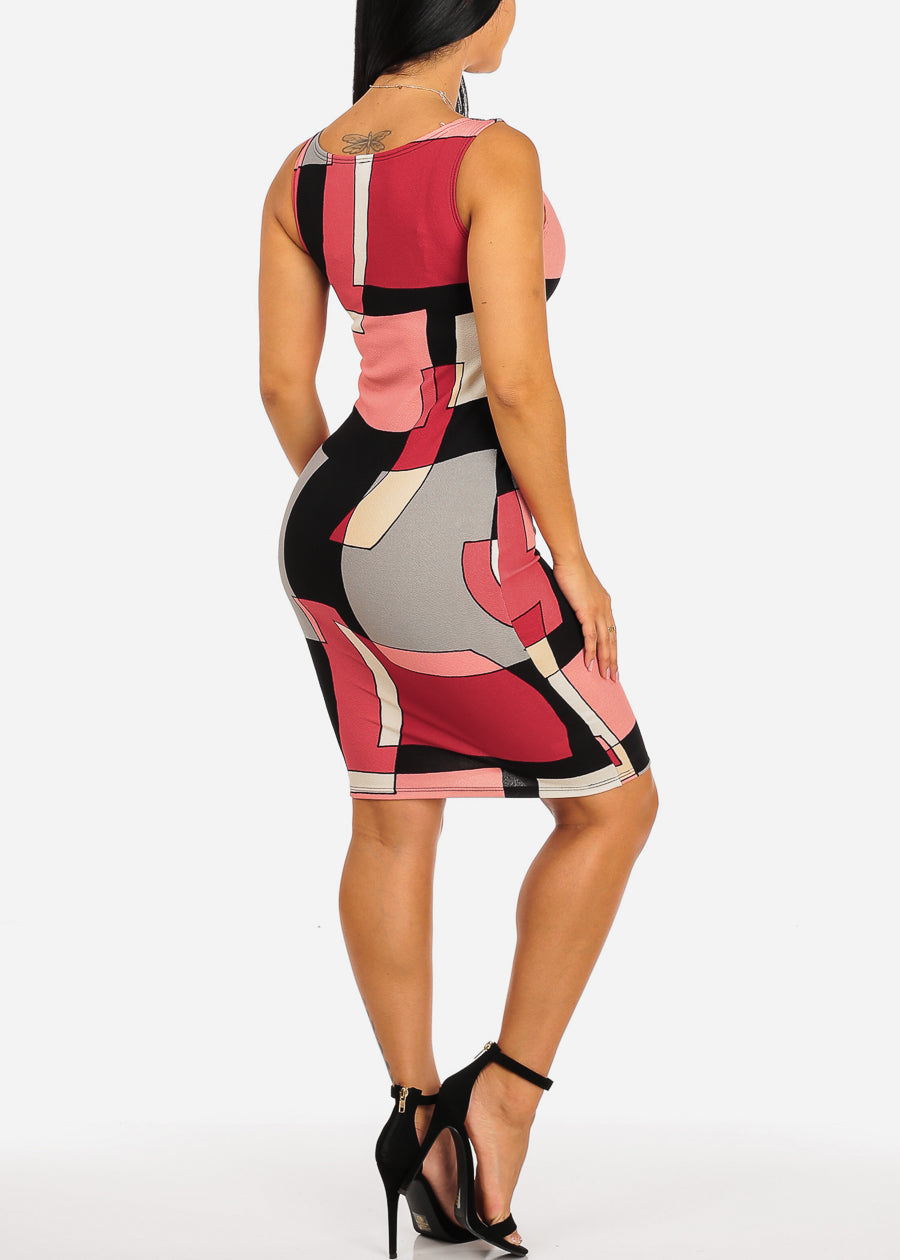Multicolor Red Geometric Print Dress