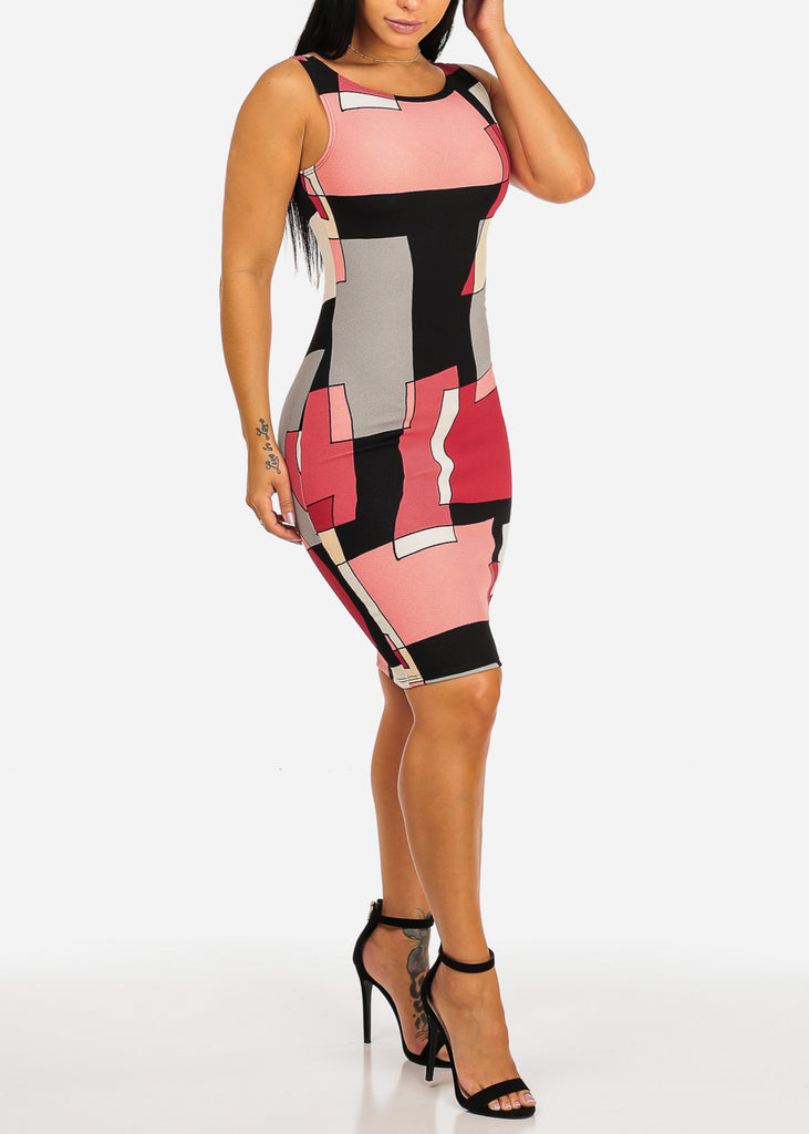 Sleeveless Red Multicolor Shape Design Print Slim Fit Knee Length Bodycon Dress