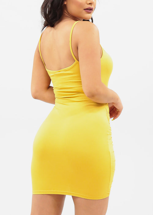 Women's Junior Ladies Sexy Going Out Sexy Club Wear Party Night Out Spaghetti Strap Side Ruched Front Zipper Detail Mustard Dress