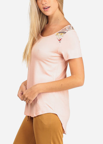 Image of Partial Print Pink Tunic Top
