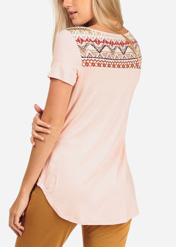 Women's Junior Ladies Casual Aztec Print Short Sleeve Long Tunic Pink Top