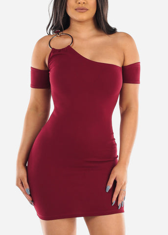 Image of Sexy Night Out Clubwear For Party 2019 Hot New Mini Bodycon Super Stretchy One Cold Shoulder Sleeve Little Burgundy Dress