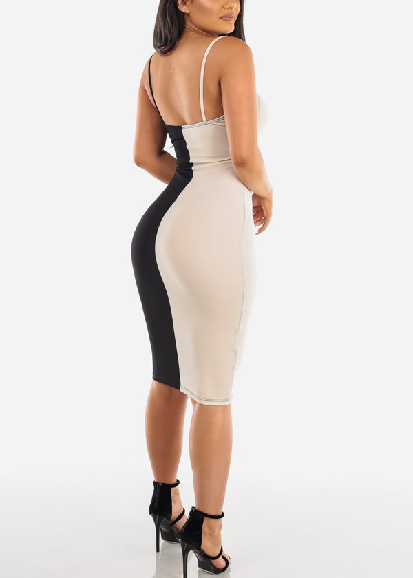 Sexy Black & Cream Colorblock Midi Dress