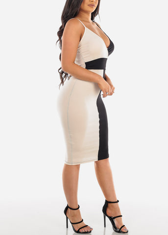 Image of Sexy Black And Cream Spaghetti Strap Colorblock Dress For Women Ladies Junior Night Out Clubwear Party 2019 New Collection