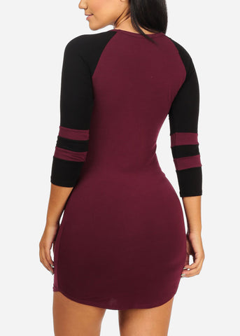 Image of Casual Burgundy Stretchy Mini Dress