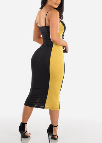 Image of Sexy Black And Mustard Colorblock Tight Fit Bodycon Midi Dress For Women Ladies 2019 New Dresses