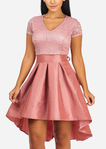 Image of Elegant Floral Lace Mauve Flare Dress
