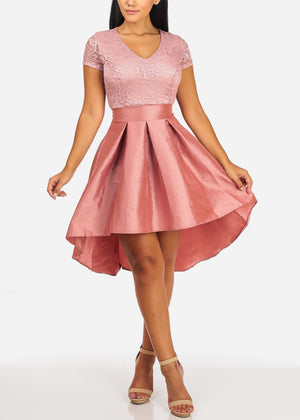 Elegant Floral Lace Mauve Flare Dress
