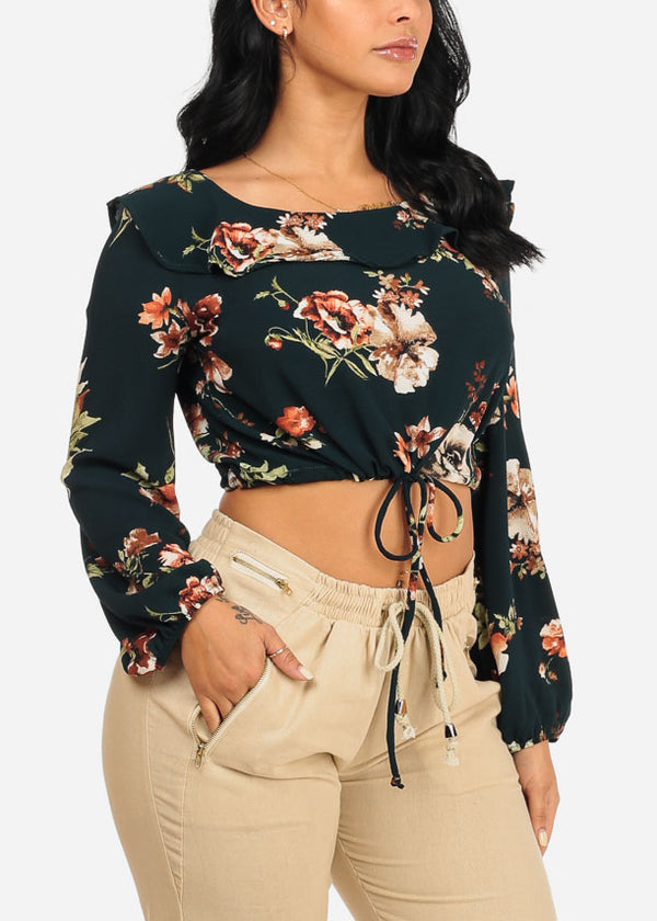 Dark Green Floral Drawstring Crop Top