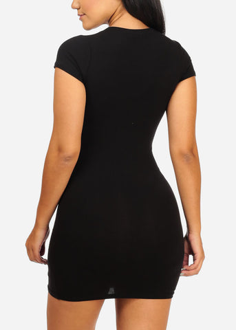 Basic Black Stretchy Mini Dress