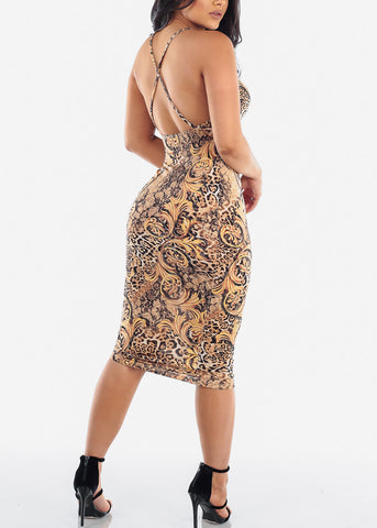 Image of Sexy Clubwear Party Night Out Tight Fit Flower And Animal Print 2019 New Collection Sexy Miami Midi Bodycon Dress