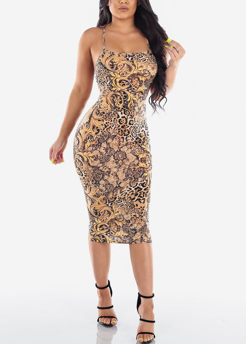 Sexy Clubwear Party Night Out Tight Fit Flower And Animal Print 2019 New Collection Sexy Miami Midi Bodycon Dress