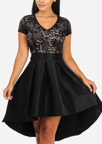 Elegant Floral Lace Black Flare Dress