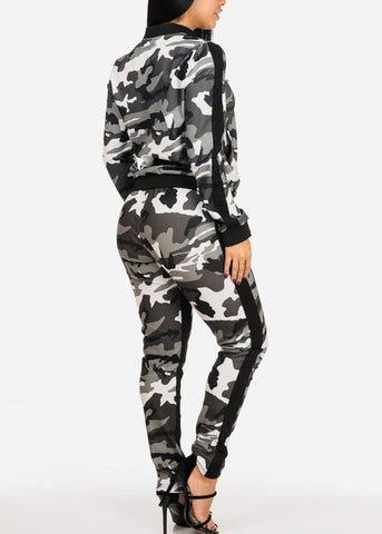 Image of Grey Camo Print Long Sleeve Sweater W High Rise Pants (2 PCE SET)