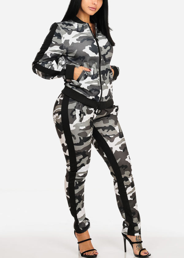 Grey Camo Print Long Sleeve Sweater W High Rise Pants (2 PCE SET)