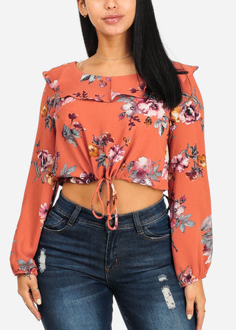 Image of Cute Floral Drawstring Crop Top