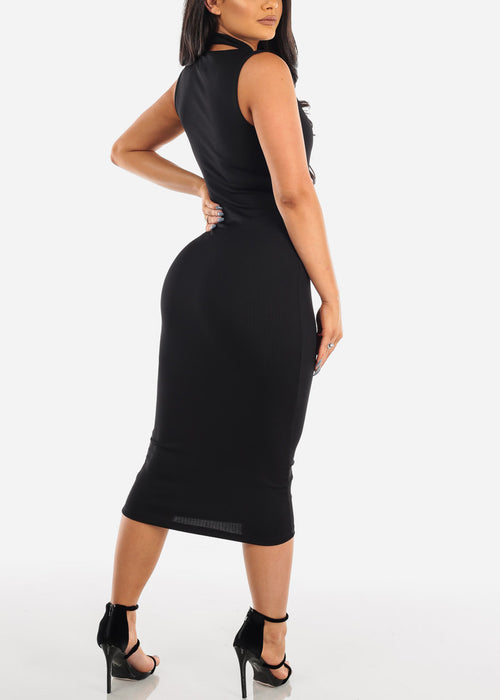 Sexy Solid Black Sleeveless Tight Fit Midi Dress For Women Ladies Junior Party Clubwear Night Out Miami Style Fashion