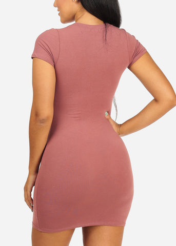 Basic Mauve Stretchy Mini Dress