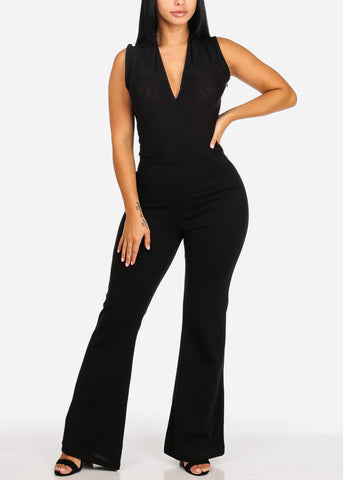Image of Partial See Through Sexy Black  Jumpsuit
