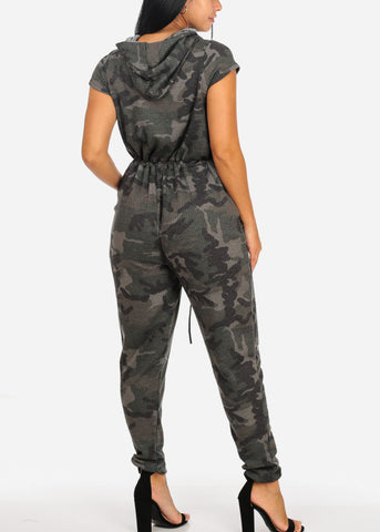 Casual Hooded Camouflage Jumpsuit