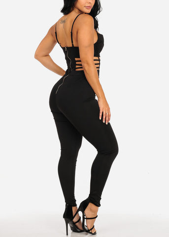Image of Sexy Cut Out Design Black Jumpsuit