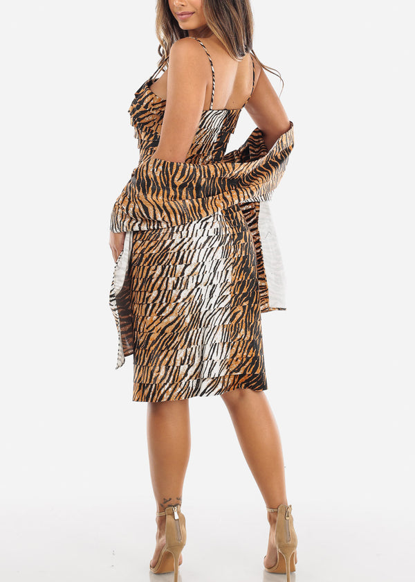 Tiger Print Spaghetti Strap Dress w Shawl
