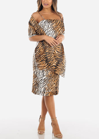 Tiger Print Spaghetti Strap Dress w Shawl MD5001YLLW