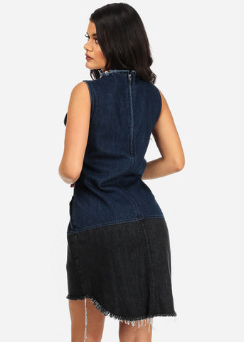 Image of Two-Tone Distressed Denim Mini Dress