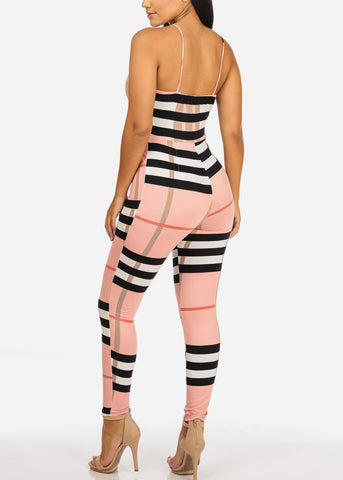 Image of Sexy Pink Plaid Print Jumpsuit