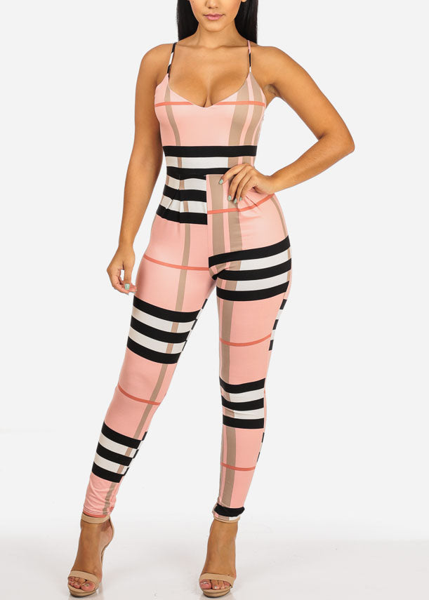 Sexy Pink Plaid Print Jumpsuit