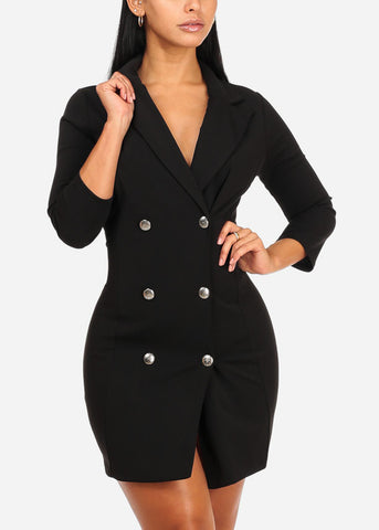 Trench Style Silver Button Up Black Dress