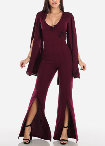 Image of Slit Sleeve Wine Jumpsuit
