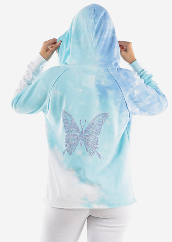Image of Blue Tie Dye Graphic Hoodie